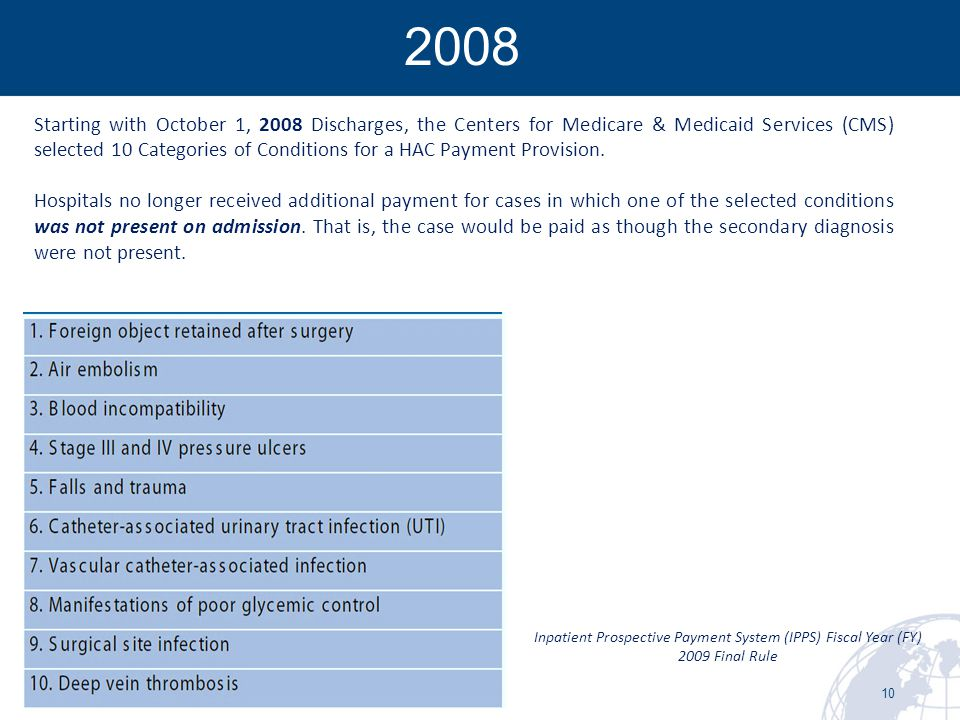 10  2008 Starting with October 1, 2008 Discharges, the Centers for Medicare & Medicaid Services (CMS) selected 10 Categories of Conditions for a HAC