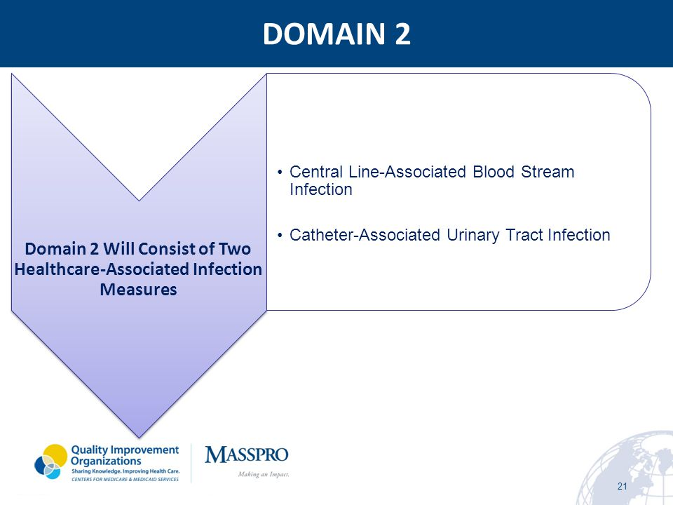 DOMAIN 2 21 Domain 2 Will Consist of Two Healthcare-Associated Infection Measures Central Line-Associated Blood Stream Infection Catheter-Associated U