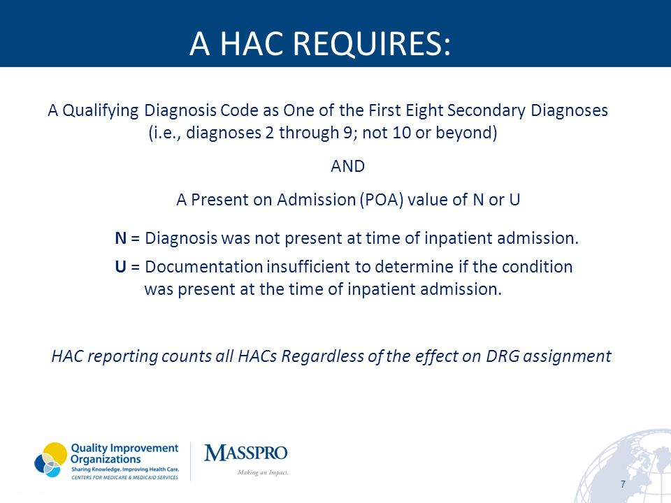 Hospital-Acquired Conditions (Present on Admission Indicator) 8 Hospital Acquired Condition Program