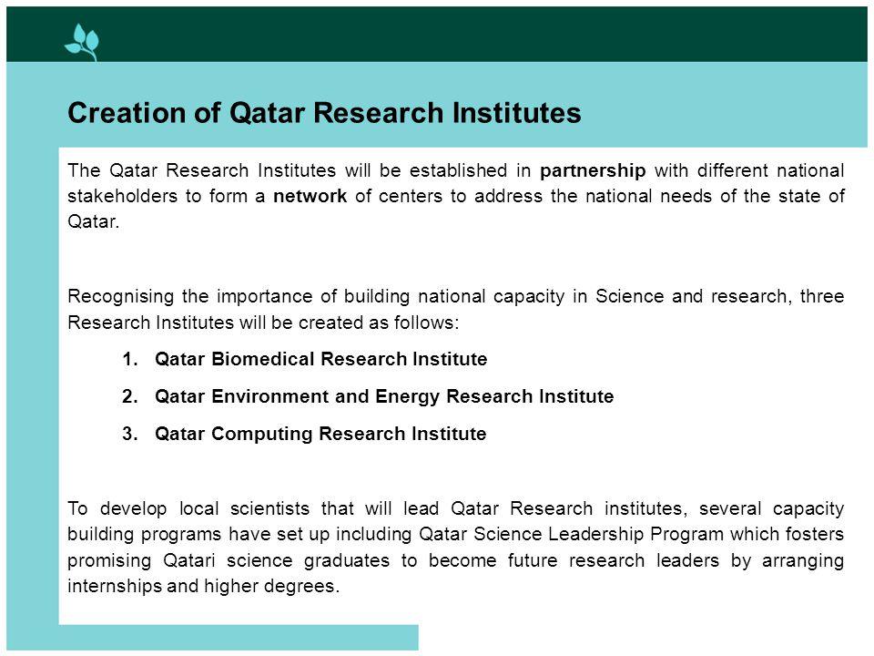 Develop and Utilize Human Potential 2. Qatar Biomedical Research Institute
