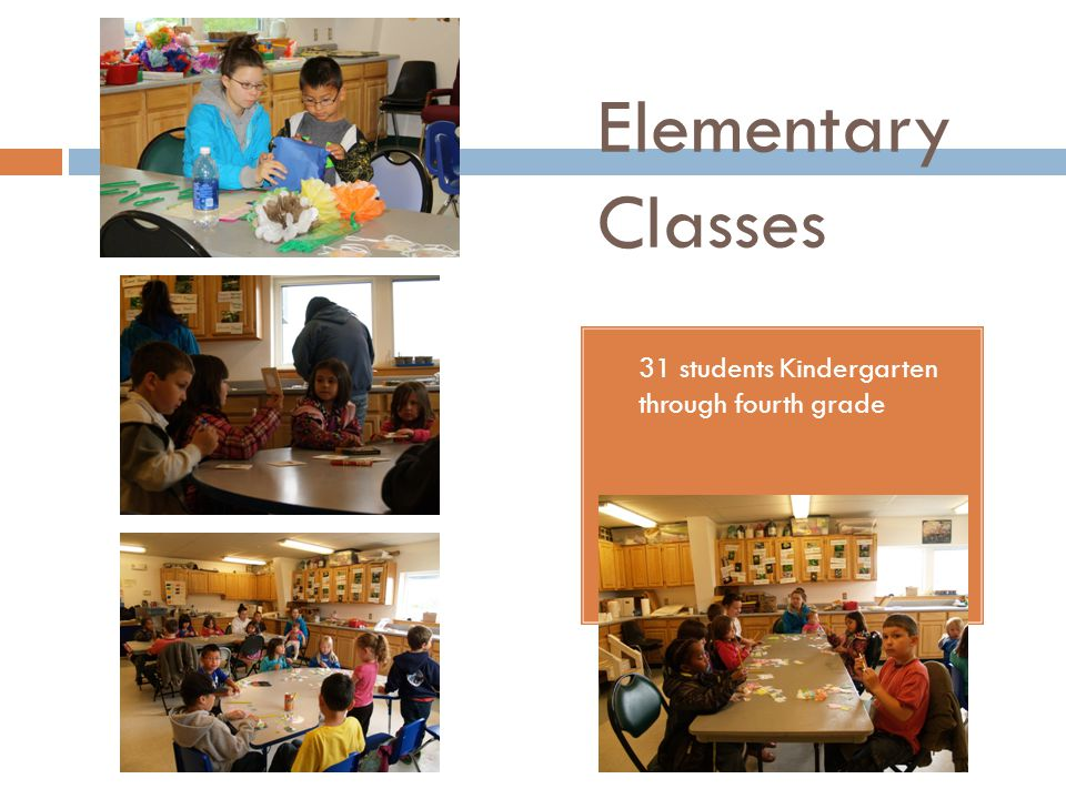 Elementary Classes 31 students Kindergarten through fourth grade