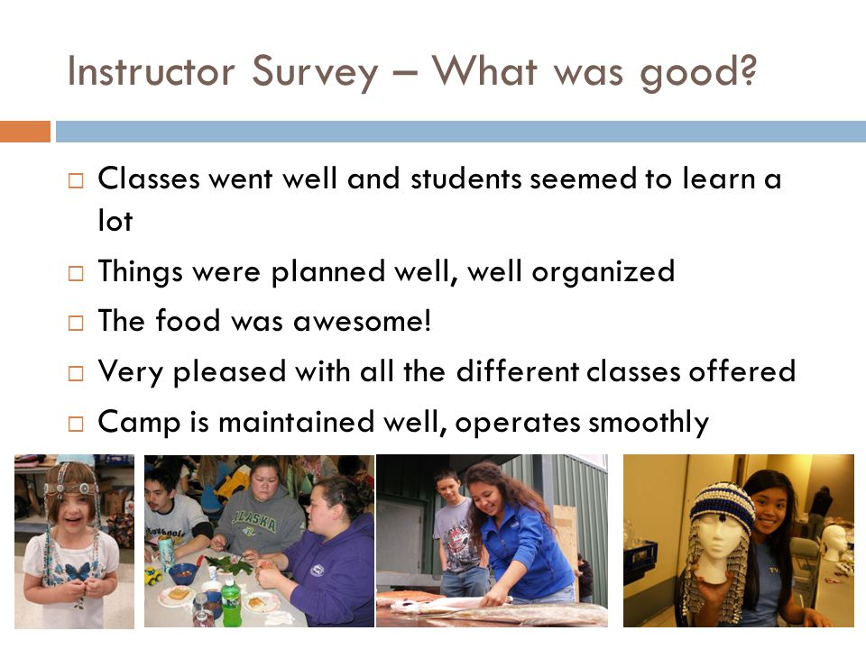 Instructor Survey – What was good.