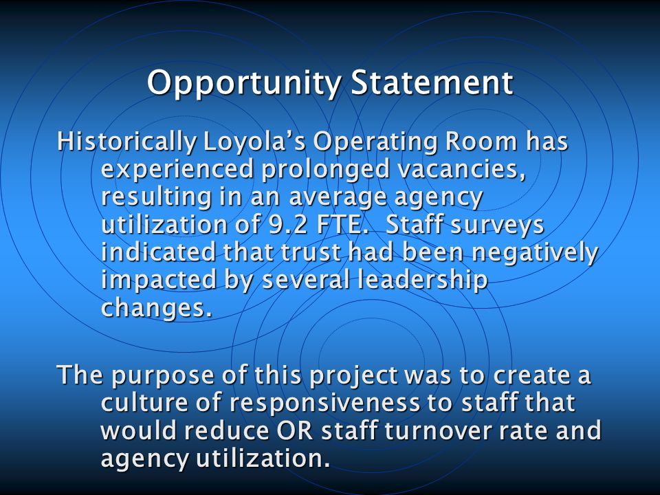 Opportunity Statement Historically Loyola's Operating Room has experienced prolonged vacancies, resulting in an average agency utilization of 9.2 FTE.