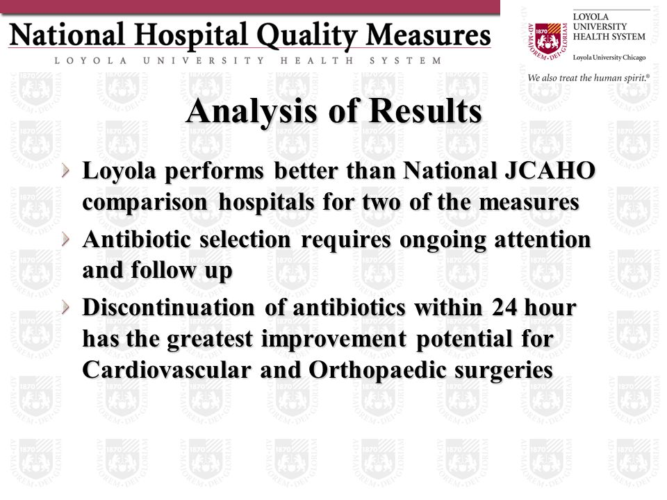 Analysis of Results Loyola performs better than National JCAHO comparison hospitals for two of the measures Antibiotic selection requires ongoing attention and follow up Discontinuation of antibiotics within 24 hour has the greatest improvement potential for Cardiovascular and Orthopaedic surgeries