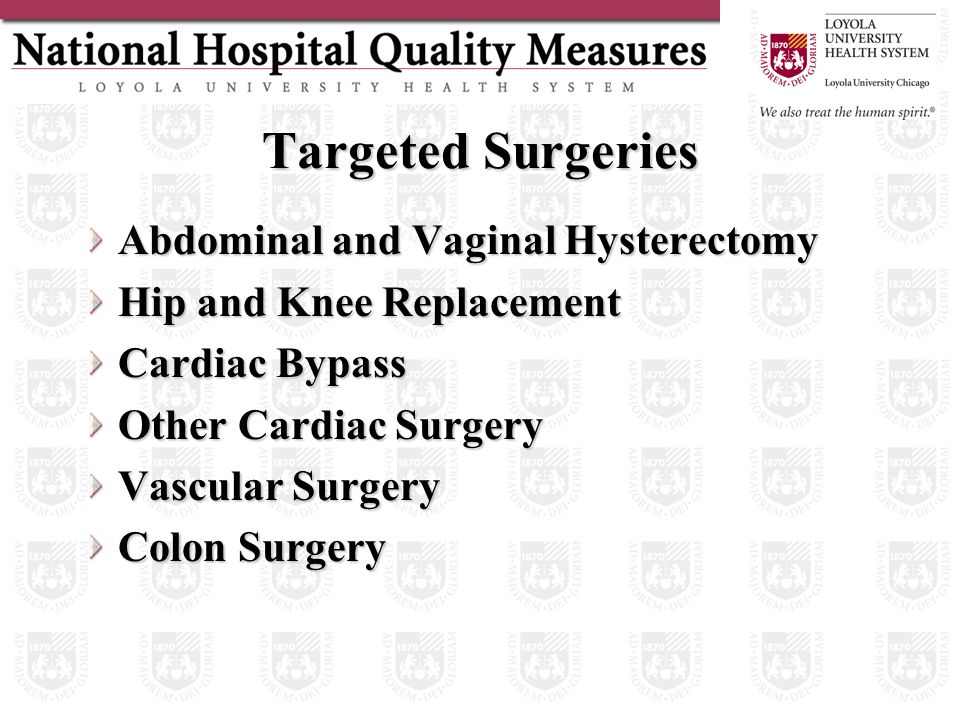 Targeted Surgeries Abdominal and Vaginal Hysterectomy Hip and Knee Replacement Cardiac Bypass Other Cardiac Surgery Vascular Surgery Colon Surgery