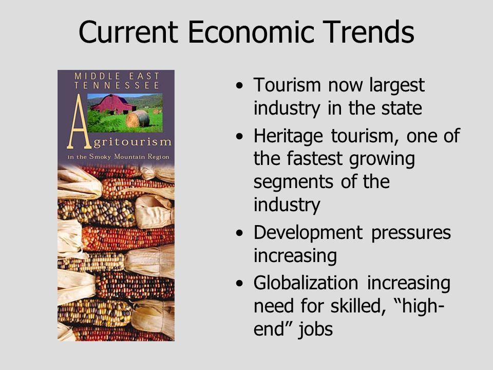 Current Economic Trends Tourism now largest industry in the state Heritage tourism, one of the fastest growing segments of the industry Development pressures increasing Globalization increasing need for skilled, high- end jobs