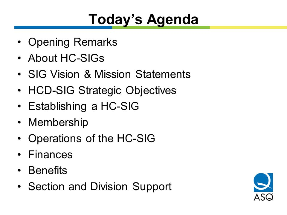 Today's Agenda Opening Remarks About HC-SIGs SIG Vision & Mission Statements HCD-SIG Strategic Objectives Establishing a HC-SIG Membership Operations of the HC-SIG Finances Benefits Section and Division Support