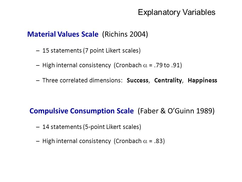 Explanatory Variables Material Values Scale (Richins 2004) ̶ 15 statements (7 point Likert scales) ̶ Three correlated dimensions: Success, Centrality,