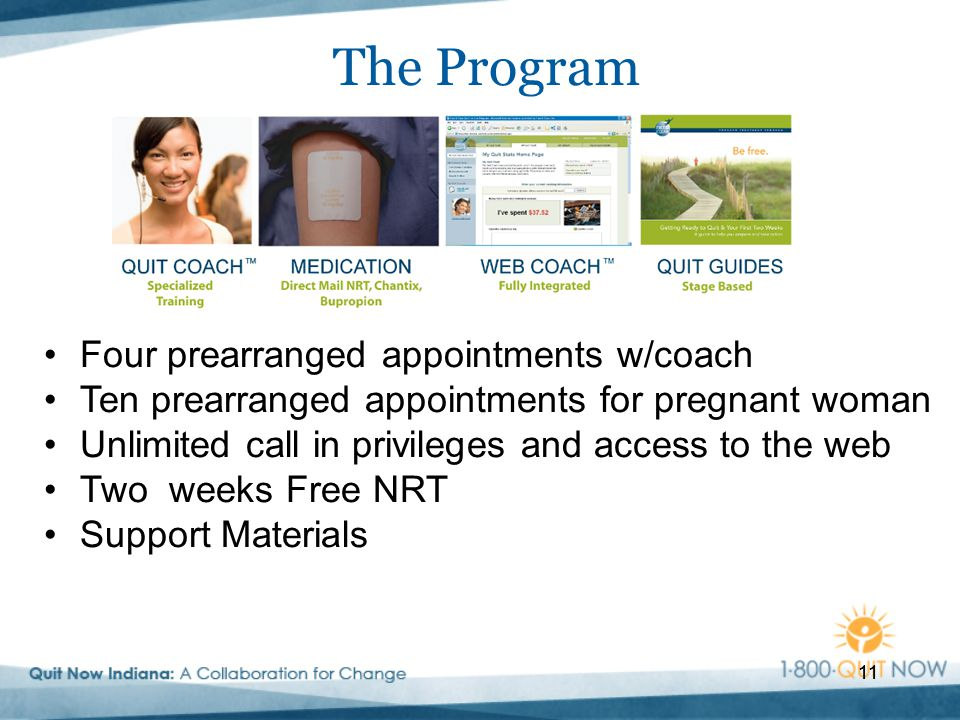 11 The Program 11 Four prearranged appointments w/coach Ten prearranged appointments for pregnant woman Unlimited call in privileges and access to the web Two weeks Free NRT Support Materials