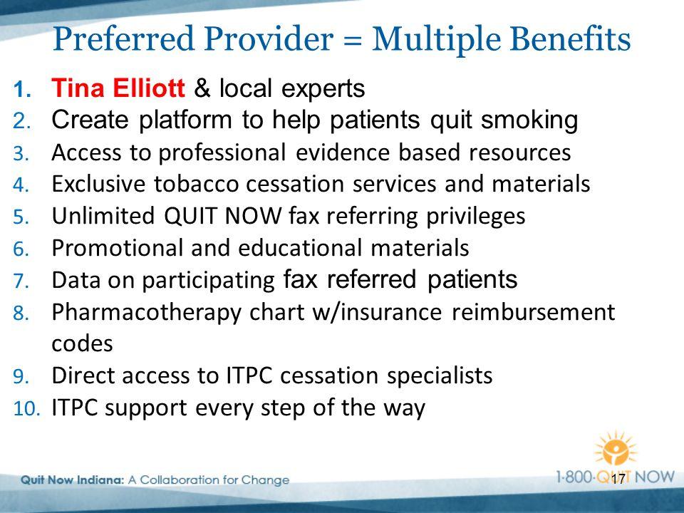 17 1. Tina Elliott & local experts 2. Create platform to help patients quit smoking 3.