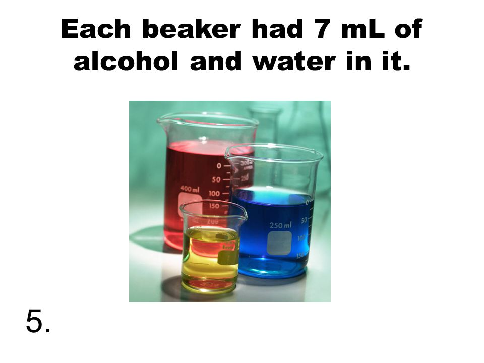 Each beaker had 7 mL of alcohol and water in it. 5.