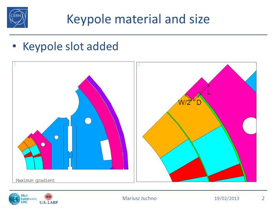 Keypole material and size Keypole slot added 19/02/2013 Mariusz Juchno2 L W/2D