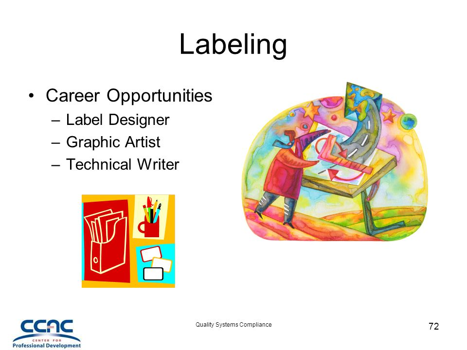 Quality Systems Compliance 72 Labeling Career Opportunities –Label Designer –Graphic Artist –Technical Writer