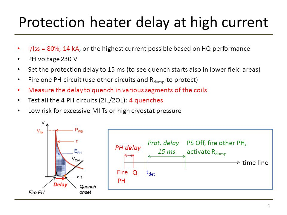 Protection heater delay at high current I/Iss = 80%, 14 kA, or the highest current possible based on HQ performance PH voltage 230 V Set the protection delay to 15 ms (to see quench starts also in lower field areas) Fire one PH circuit (use other circuits and R dump to protect) Measure the delay to quench in various segments of the coils Test all the 4 PH circuits (2IL/2OL): 4 quenches Low risk for excessive MIITs or high cryostat pressure 4 time line Fire PH Q PS Off, fire other PH, activate R dump Prot.