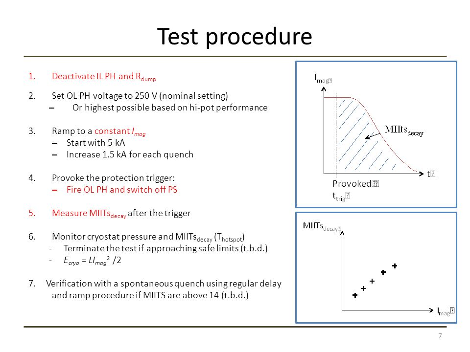 Advantages Controlled, gradual increase in E cryo and MIITs  Reduced risk to test facility and magnet Conservative estimation of MIITs for real quench: Sum MIITs decay and MIITs for an estimated detection time No initial quench in the magnet  Lower total MIITs and T hotspot The first comparison with HQ02 can be done at low current and low MIITs 8
