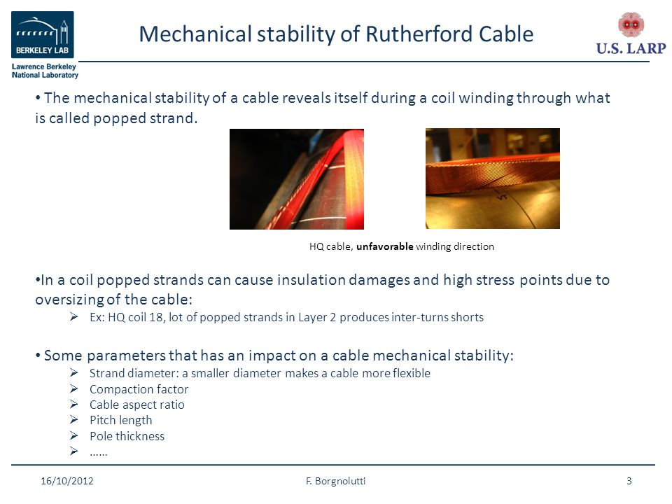 Mechanical stability of Rutherford Cable 16/10/2012F.