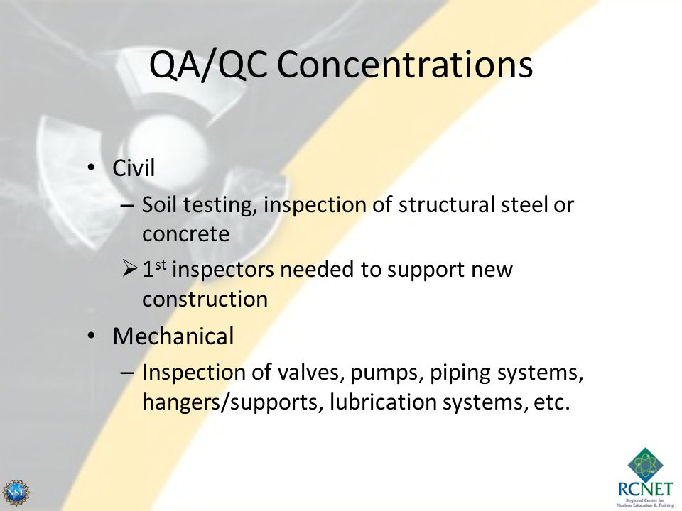 ANSI 45.2.6 Qualification for Inspectors Levels I, II, and III (III is highest level) Requires formal training, OJT, and the satisfactory completion of a written exam – TVA's NQAP (Nuclear Quality Assurance Program) provides alternate qualification requirements