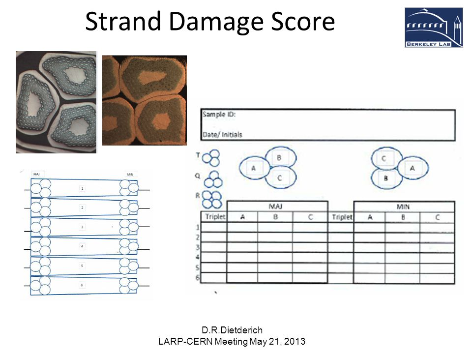 Strand Damage Score D.R.Dietderich LARP-CERN Meeting May 21, 2013