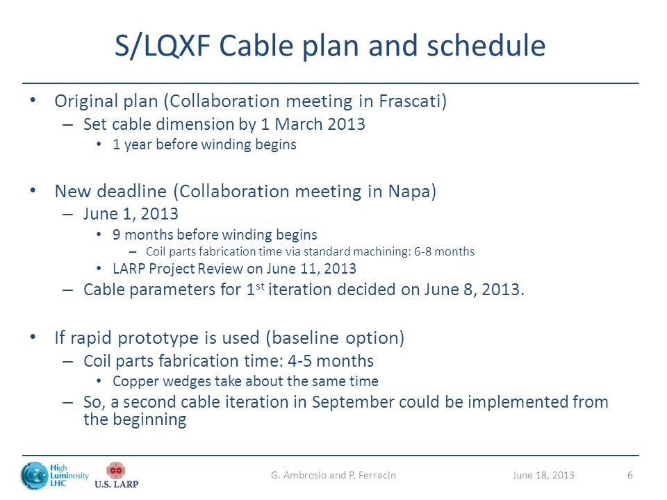 S/LQXF Cable plan and schedule Original plan (Collaboration meeting in Frascati) – Set cable dimension by 1 March 2013 1 year before winding begins Ne