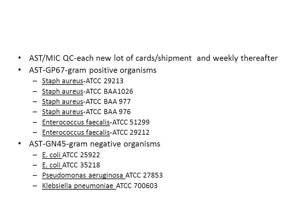 AST/MIC QC-each new lot of cards/shipment and weekly thereafter AST-GP67-gram positive organisms – Staph aureus-ATCC 29213 – Staph aureus-ATCC BAA1026