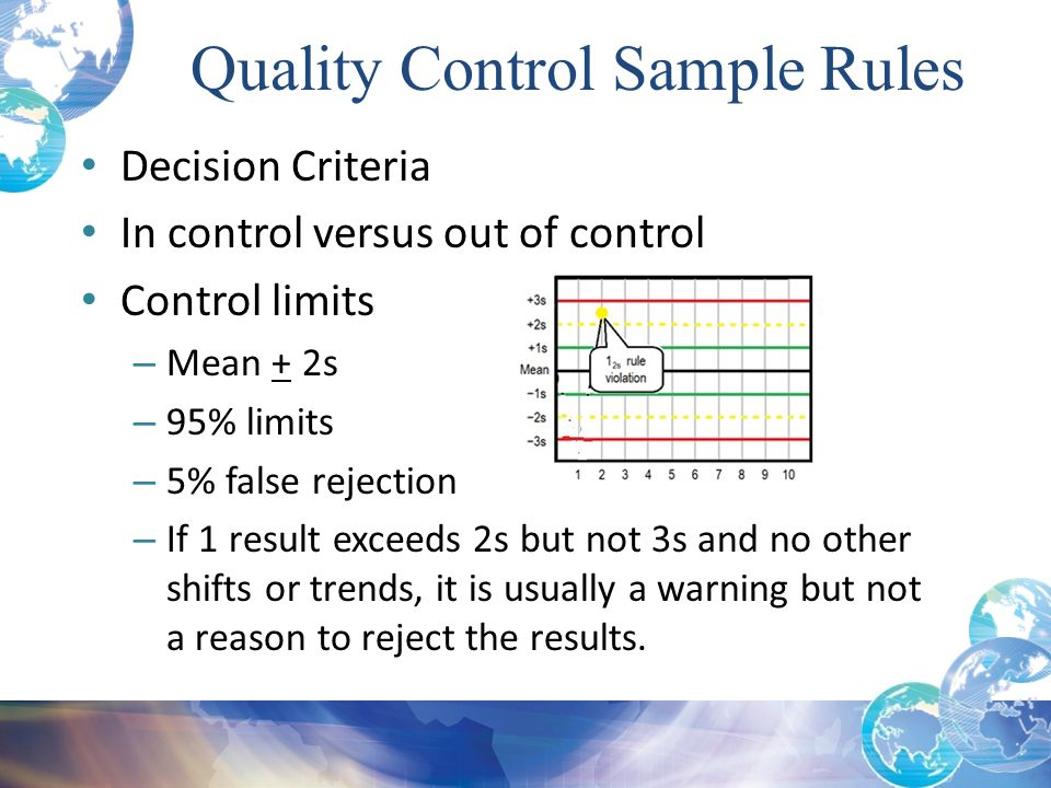 Quality Control Sample Rules Decision Criteria In control versus out of control Control limits – Mean + 2s – 95% limits – 5% false rejection – If 1 re