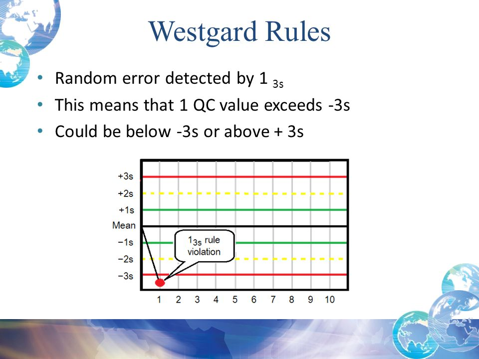 Westgard Rules Random error detected by 1 3s This means that 1 QC value exceeds -3s Could be below -3s or above + 3s