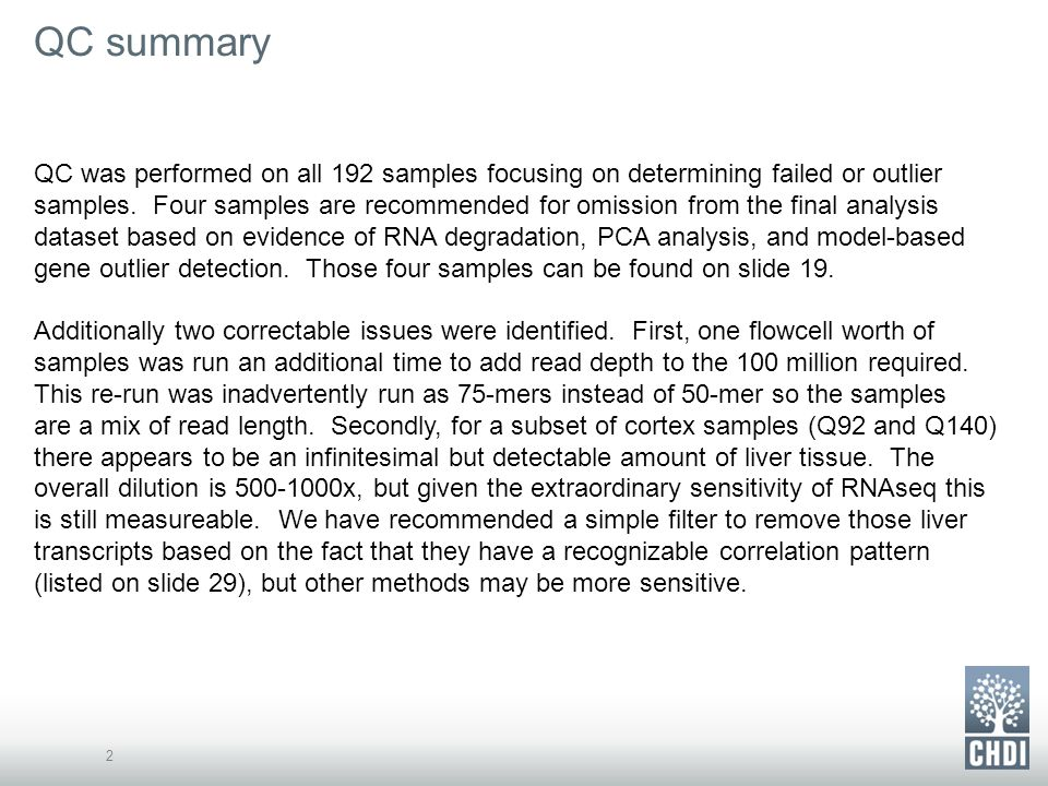 QC summary 2 QC was performed on all 192 samples focusing on determining failed or outlier samples.
