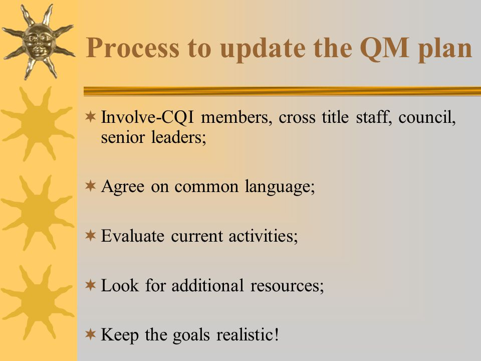 Process to update the QM plan  Involve-CQI members, cross title staff, council, senior leaders;  Agree on common language;  Evaluate current activities;  Look for additional resources;  Keep the goals realistic!