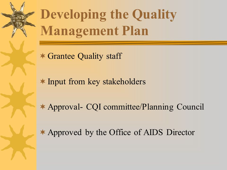 Developing the Quality Management Plan  Grantee Quality staff  Input from key stakeholders  Approval- CQI committee/Planning Council  Approved by the Office of AIDS Director