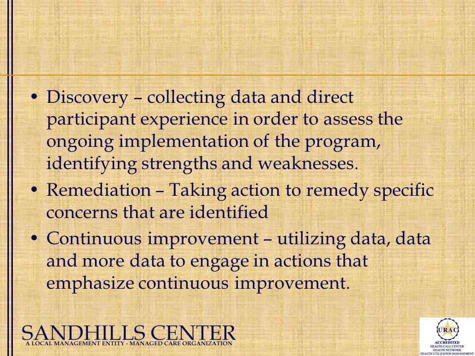 Discovery – collecting data and direct participant experience in order to assess the ongoing implementation of the program, identifying strengths and weaknesses.