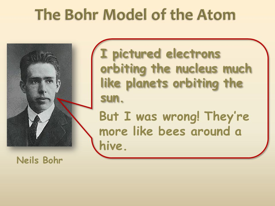 Neils Bohr I pictured electrons orbiting the nucleus much like planets orbiting the sun.