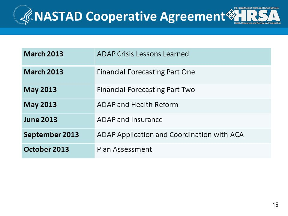15 NASTAD Cooperative Agreement March 2013ADAP Crisis Lessons Learned March 2013Financial Forecasting Part One May 2013Financial Forecasting Part Two