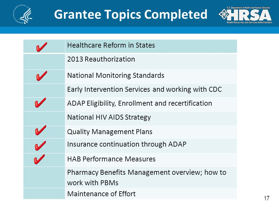 17 Grantee Topics Completed Healthcare Reform in States 2013 Reauthorization National Monitoring Standards Early Intervention Services and working wit