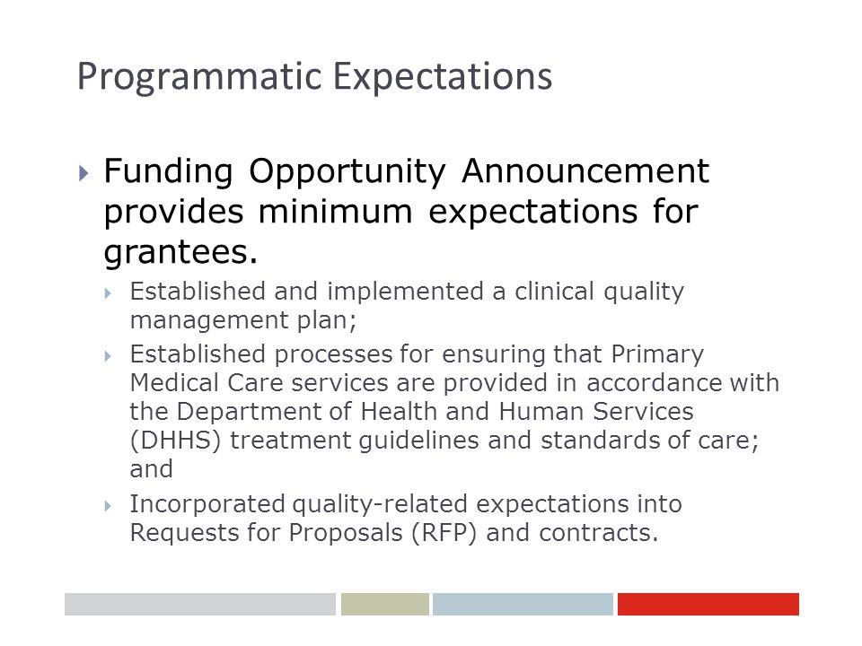 Programmatic Expectations  Funding Opportunity Announcement provides minimum expectations for grantees.  Established and implemented a clinical qual