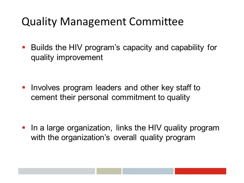 Quality Management Committee  Builds the HIV program's capacity and capability for quality improvement  Involves program leaders and other key staff