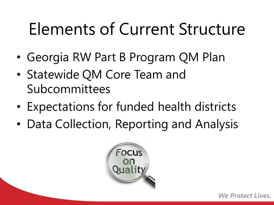 Elements of Current Structure Georgia RW Part B Program QM Plan Statewide QM Core Team and Subcommittees Expectations for funded health districts Data