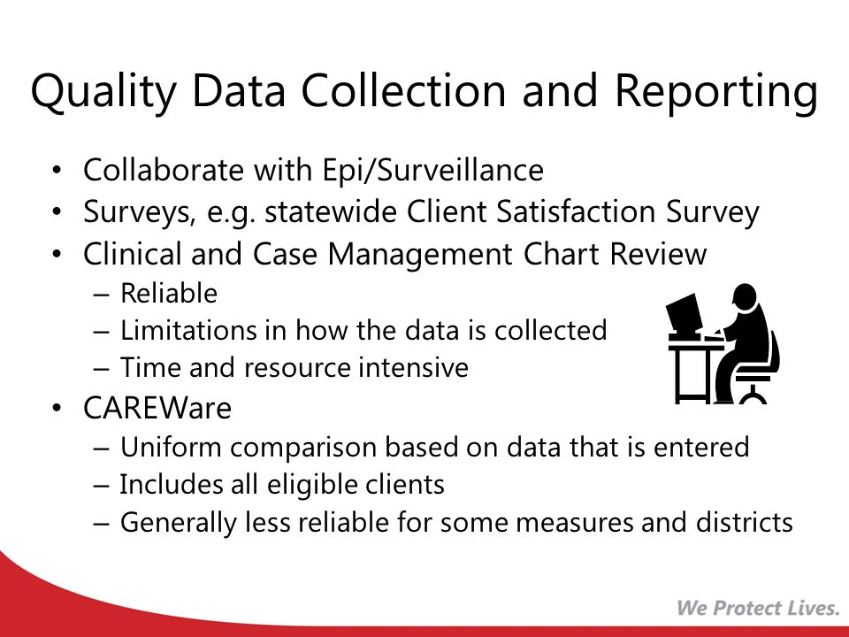 Quality Data Collection and Reporting Collaborate with Epi/Surveillance Surveys, e.g. statewide Client Satisfaction Survey Clinical and Case Managemen
