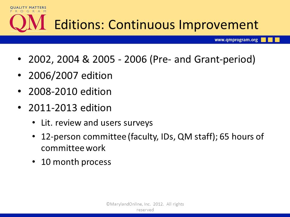 Editions: Continuous Improvement 2002, 2004 & 2005 - 2006 (Pre- and Grant-period) 2006/2007 edition 2008-2010 edition 2011-2013 edition Lit.