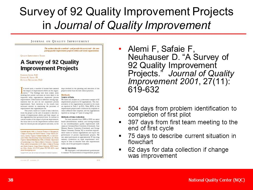 """National Quality Center (NQC)38 Survey of 92 Quality Improvement Projects in Journal of Quality Improvement Alemi F, Safaie F, Neuhauser D. """"A Survey"""