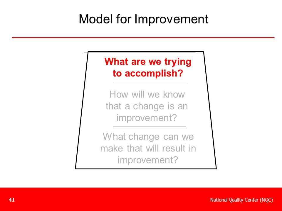 National Quality Center (NQC)41 What are we trying to accomplish? How will we know that a change is an improvement? What change can we make that will