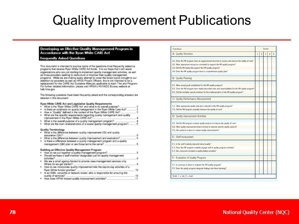 National Quality Center (NQC)78 Quality Improvement Publications