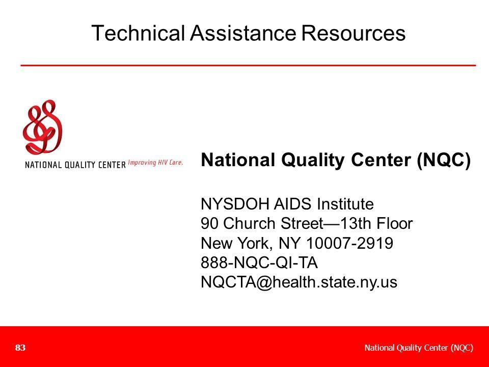 National Quality Center (NQC)83 Technical Assistance Resources National Quality Center (NQC) NYSDOH AIDS Institute 90 Church Street—13th Floor New Yor