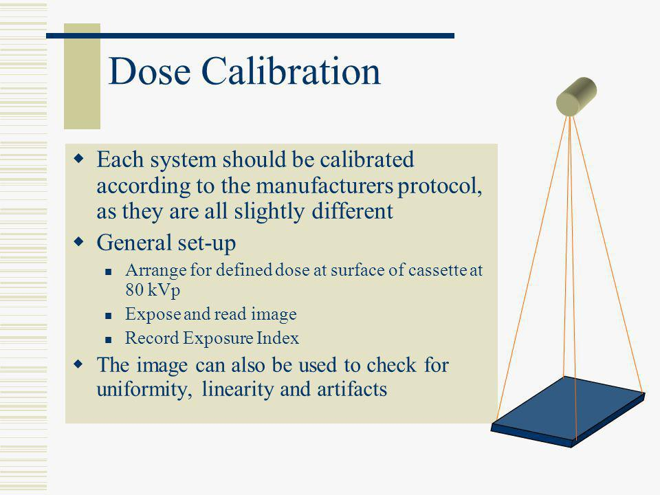Dose Calibration  Each system should be calibrated according to the manufacturers protocol, as they are all slightly different  General set-up Arran