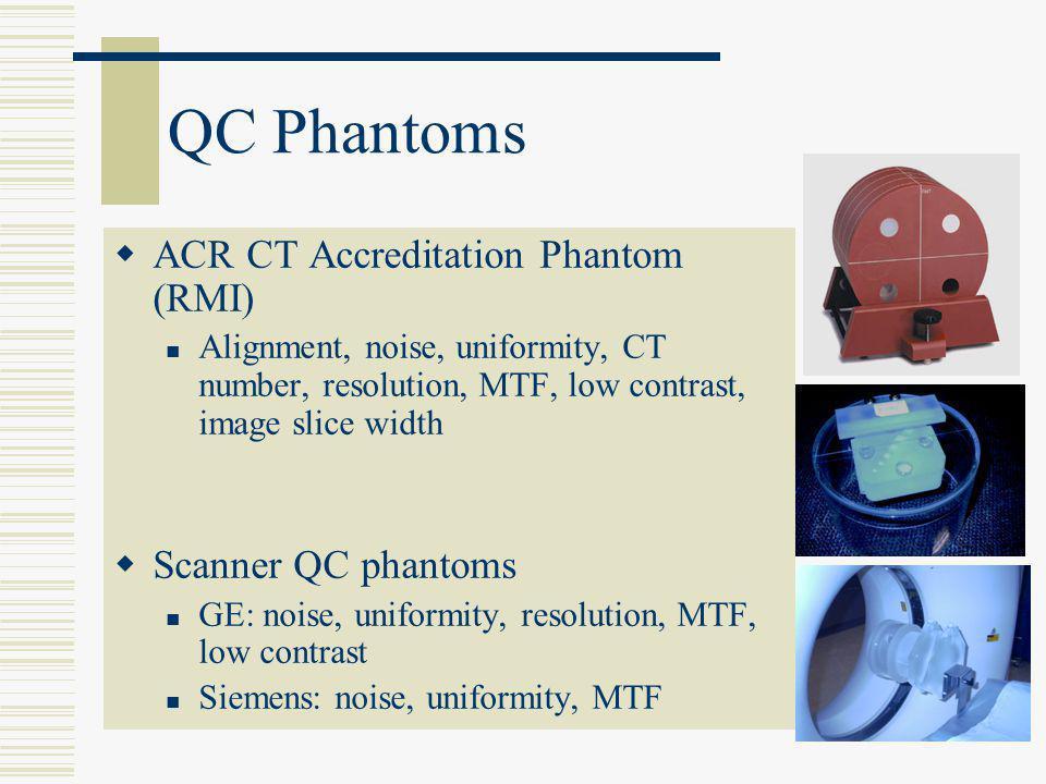 QC Phantoms  ACR CT Accreditation Phantom (RMI) Alignment, noise, uniformity, CT number, resolution, MTF, low contrast, image slice width  Scanner Q