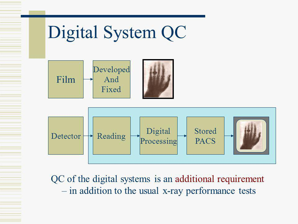 Digital System QC Film Developed And Fixed DetectorReading Viewed Display Digital Processing Stored PACS QC of the digital systems is an additional re