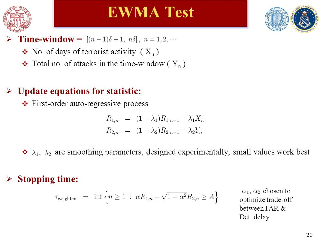 EWMA Test  Time-window =  No. of days of terrorist activity ( X n )  Total no.