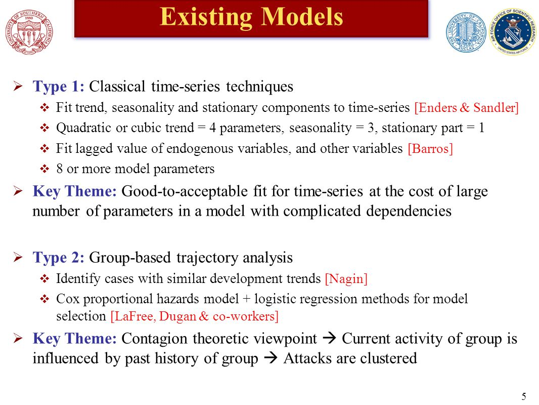 Existing Models  Type 1: Classical time-series techniques  Fit trend, seasonality and stationary components to time-series [Enders & Sandler]  Quadratic or cubic trend = 4 parameters, seasonality = 3, stationary part = 1  Fit lagged value of endogenous variables, and other variables [Barros]  8 or more model parameters  Key Theme: Good-to-acceptable fit for time-series at the cost of large number of parameters in a model with complicated dependencies  Type 2: Group-based trajectory analysis  Identify cases with similar development trends [Nagin]  Cox proportional hazards model + logistic regression methods for model selection [LaFree, Dugan & co-workers]  Key Theme: Contagion theoretic viewpoint  Current activity of group is influenced by past history of group  Attacks are clustered 5