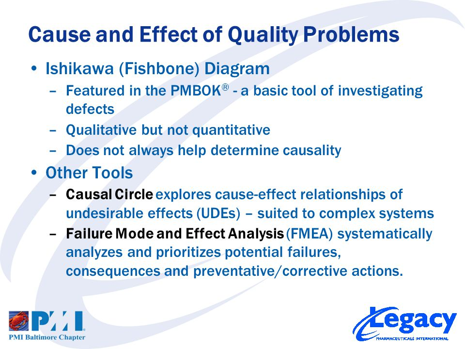 Ishikawa (Fishbone) Diagram –Featured in the PMBOK ® - a basic tool of investigating defects –Qualitative but not quantitative –Does not always help determine causality Other Tools –Causal Circle explores cause-effect relationships of undesirable effects (UDEs) – suited to complex systems –Failure Mode and Effect Analysis (FMEA) systematically analyzes and prioritizes potential failures, consequences and preventative/corrective actions.