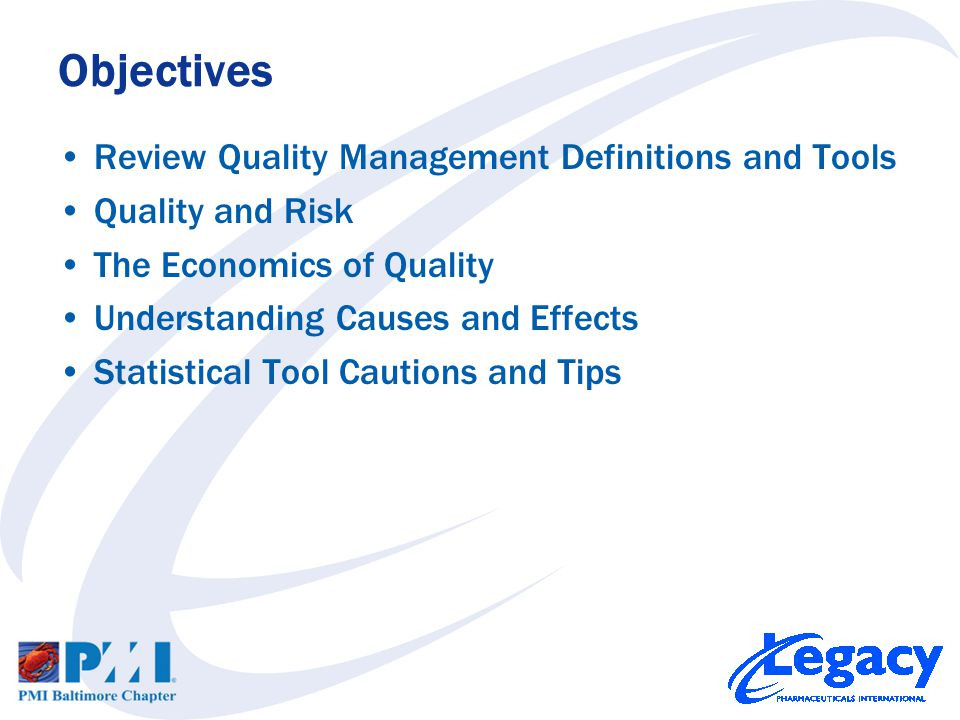 QUALITY the degree to which a set of inherent characteristics fulfill requirements GRADE category assigned to products or services having the same functional use but different technical characteristics Quality Management Definitions PMBOK ® Guide 4ed p190