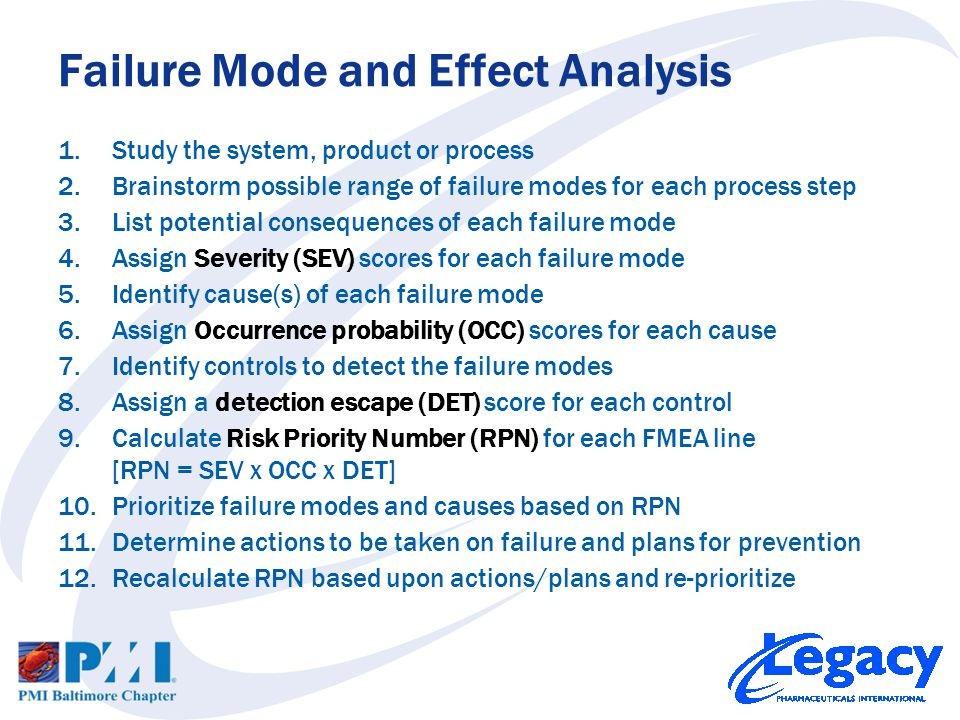 1.Study the system, product or process 2.Brainstorm possible range of failure modes for each process step 3.List potential consequences of each failure mode 4.Assign Severity (SEV) scores for each failure mode 5.Identify cause(s) of each failure mode 6.Assign Occurrence probability (OCC) scores for each cause 7.Identify controls to detect the failure modes 8.Assign a detection escape (DET) score for each control 9.Calculate Risk Priority Number (RPN) for each FMEA line [RPN = SEV x OCC x DET] 10.Prioritize failure modes and causes based on RPN 11.Determine actions to be taken on failure and plans for prevention 12.Recalculate RPN based upon actions/plans and re-prioritize Failure Mode and Effect Analysis